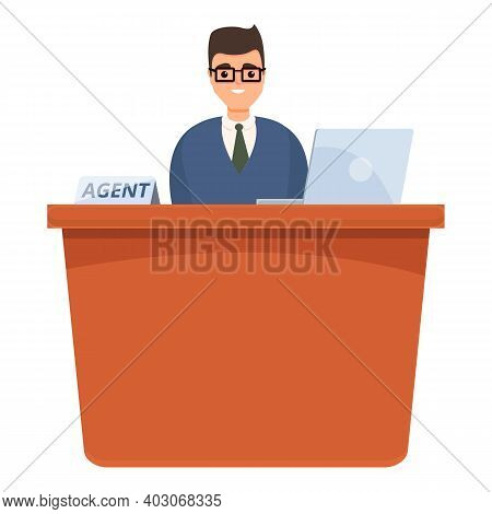 Desktop Agent Icon. Cartoon Of Desktop Agent Vector Icon For Web Design Isolated On White Background