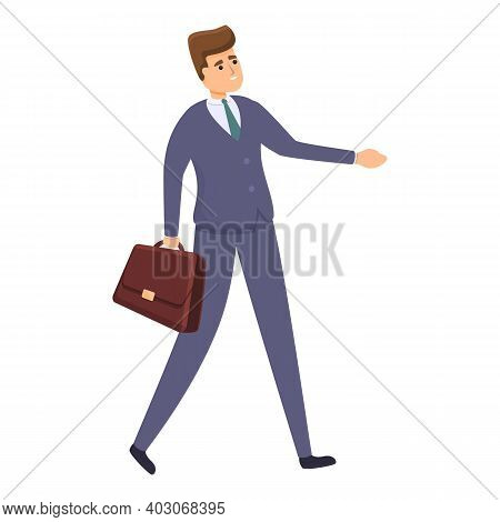 Walking Agent Icon. Cartoon Of Walking Agent Vector Icon For Web Design Isolated On White Background