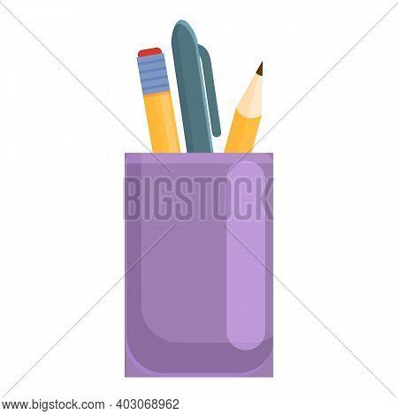 Pens Desktop Glass Icon. Cartoon Of Pens Desktop Glass Vector Icon For Web Design Isolated On White