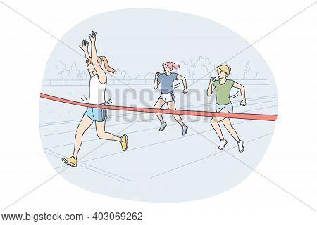 Athletics, Running, Marathon Competition Concept. Young Girls People Sportsmen Athletes Taking Part