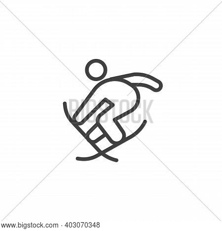 Freestyle Skiing Line Icon. Linear Style Sign For Mobile Concept And Web Design. Jumping Skier Outli