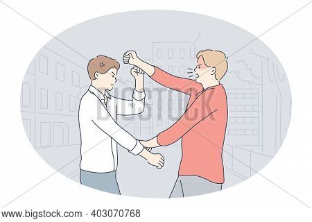 Misunderstanding, Fighting, Quarrelling Concept. Young Angry Men Friends Or Colleagues Fighting With