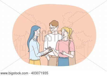 Social Poll And Survey Concept. Young Smiling Girl Cartoon Character Holding Questionnaire List In H