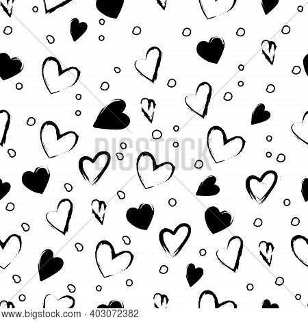 Valentines Day Festive Decoration. Seamless Stylish Trendy Black And White Pattern With Hearts, Circ