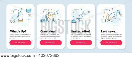 Set Of Business Icons, Such As Chemistry Dna, Love Couple, Three Fingers Symbols. Mobile Screen Bann