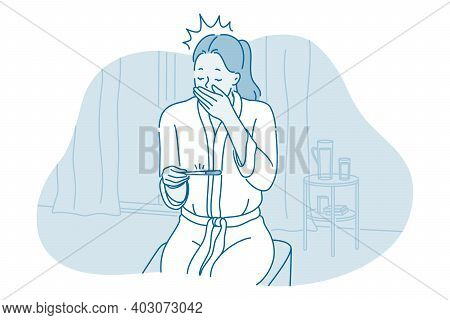 Pregnancy Test And Surprise Concept. Young Frustrated Surprised Woman Cartoon Character Sitting With
