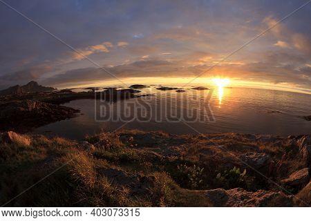 Vesteralen Islands / Norway - August 31, 2017: Midnight Sun At Andenes, Vesteralen, Vesterålen, Nord