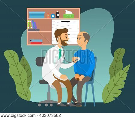 Consultation With A Practitioner Cardiologist In Clinic Office. Health Check With A Stethoscope. The