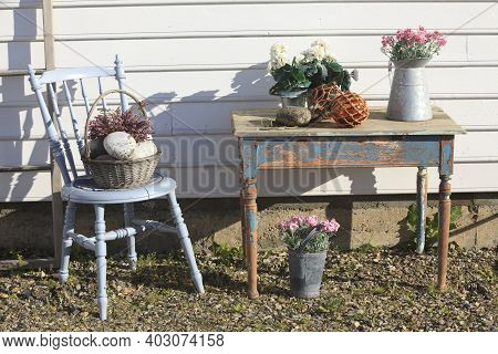 Vesteralen Islands / Norway - August 31, 2017: An Old Wooden Chair And Table, Vesteralen, Vesterålen