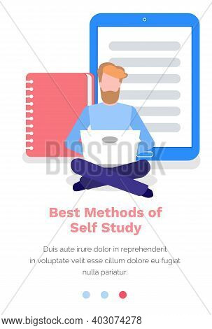 Studying Material In Internet, Best Methods Of Self Study Concept. Man Is Sitting On The Floor And W