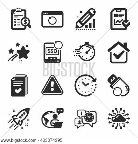 Set Of Education Icons, Such As Handout, Report Checklist, Accounting Report Symbols. Timer, Edit St