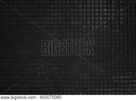 Pattern Clean Grid Uneven Design. Dark Ceramic Tiles Texture Background. Black And White, Black Back