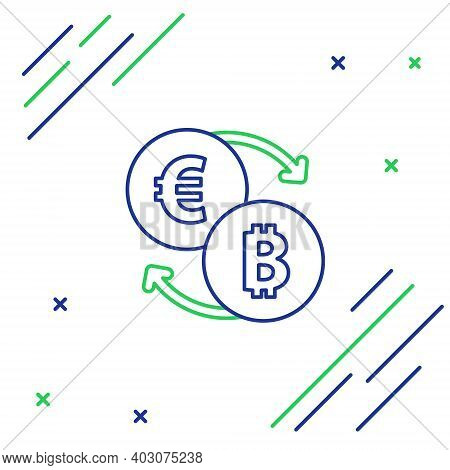 Line Cryptocurrency Exchange Icon Isolated On White Background. Bitcoin To Euro Exchange Icon. Crypt
