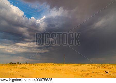 Dramatic Stormy Sky In Desert Before Thunderstorm