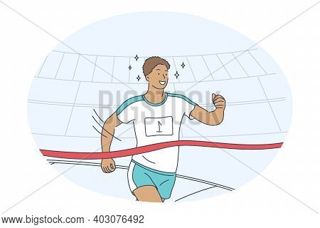 Athletics, Running, Marathon Competition Concept. Young Smiling Man Sportsman Athlete Taking Part In
