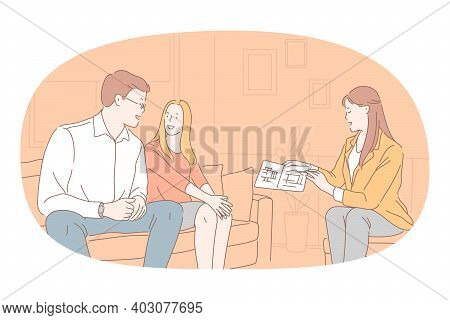 Relocating, New Apartment Choosing Concept. Young Happy Couple Cartoon Character Sitting And Listeni