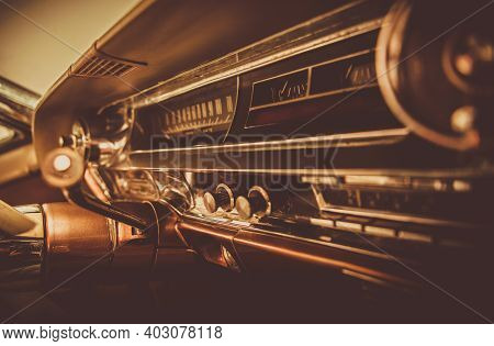 Transport Industry. Vintage Classic Car Dashboard. Aged Vehicle Interior In Sepia Color Grading. Ame