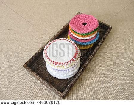 Cosmetic Pads Made Of Colourful Wool Or Cotton Fabric