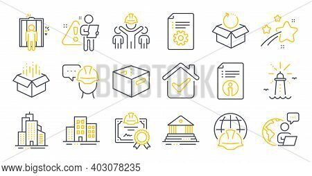 Set Of Industrial Icons, Such As Open Box, Skyscraper Buildings, Return Package Symbols. Buildings,