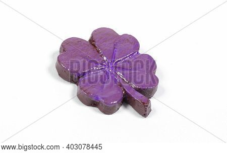 Purple Decorative Four Leaf Clover, Isolated On White