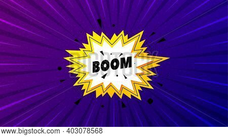 Boom Sale Sticker. Purple Background With Offer Message. Discount Banner Shape. Coupon Bubble Icon.