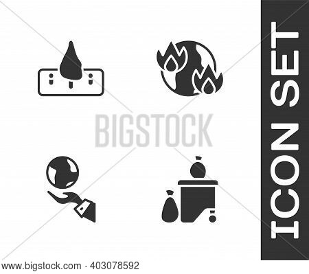 Set Full Dustbin, Deforestation, Hands Holding Earth Globe And Global Warming Fire Icon. Vector