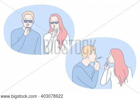 Silence, Be Quiet, Secret Concept. Young Couple Cartoon Characters Holding Finger On Lips Showing Si