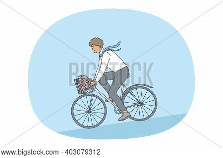 Healthy Active Lifestyle, Sport, Leisure Hobby Concept. Young Happy Man Enjoying Riding Bicycle In P