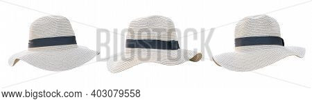 Straw Hat Set Isolated (clipping Path) On White Background In Panama Fashion Hat Style For Summer Be