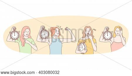 Waking Up, Sleepy Feeling, Energetic Morning Concept. Young Woman Cartoon Character Pointing At Alar
