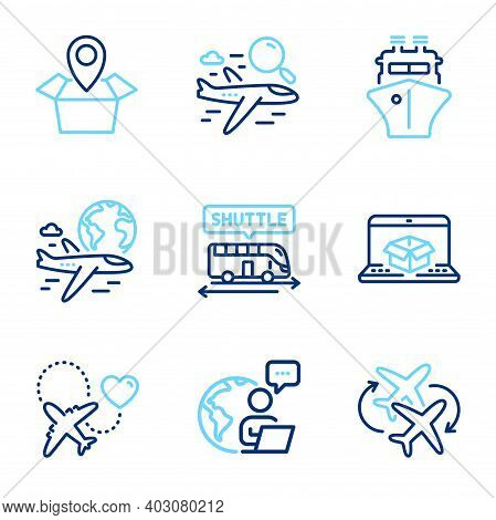 Transportation Icons Set. Included Icon As Honeymoon Travel, Online Delivery, Package Location Signs