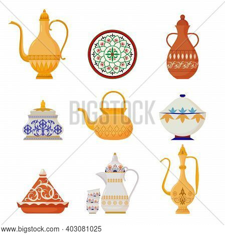 Oriental Crockery With Arabic Script Set. Syrian Yellow Teapots With Ornate Muslim Designs Red Water
