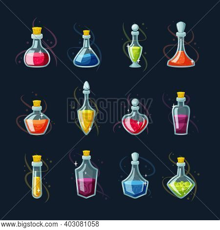 Chemical Potion Magic Vials Set. Red Elixir Regeneration And Magic Mana Replenishment Glass Flasks W