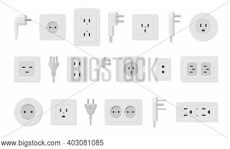 Sockets And Plugs Set. White Electrical Connectors And Holes Line Connection Current Supply Single A