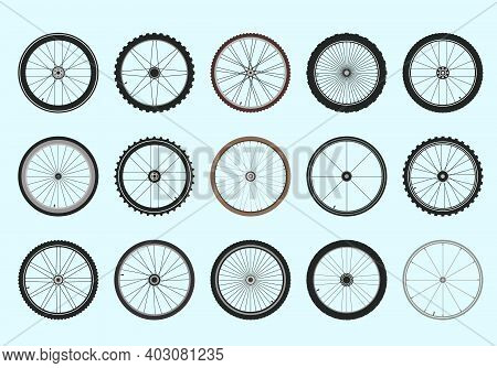 Bicycle Wheels With Spokes Geometric Tracery Set. Professional Toothed Tires For Fast And High Quali