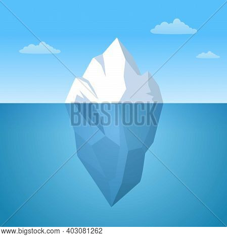 Iceberg Floating In Ocean Illustration. Huge White Block Of Ice Drifts Along Blue Current With Massi