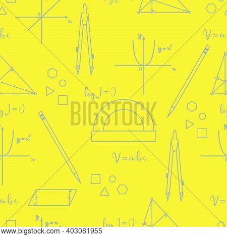 Mathematical Scientific Vector Seamless Pattern With Geometry Plots, Tools And Formulas. Education E