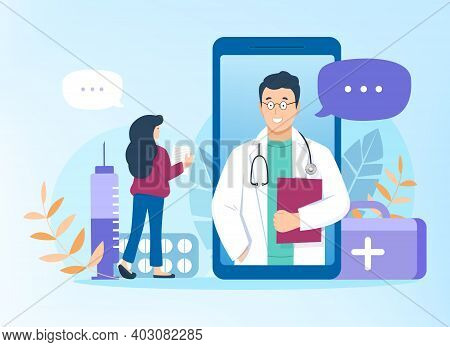 Doctor Consults Patient Online Through Mobile Application At Smartphone. Flat Vector Illustration On