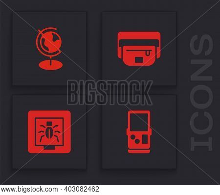 Set Tetris, Earth Globe, Waist Bag Of Banana And Insects In Frame Icon. Vector