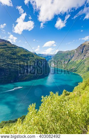 Fjord Geirangerfjord With Cruise Ship, View From Ornesvingen Viewing Point, Norway. Travel Destinati