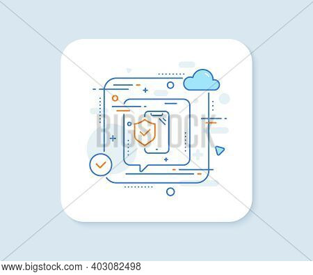 Phone Insurance Hand Line Icon. Abstract Vector Button. Risk Coverage Sign. Device Protection Symbol