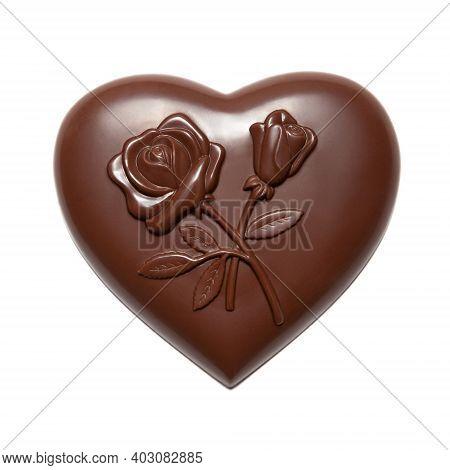 Chocolates Heart Shaped Isolated On White Background