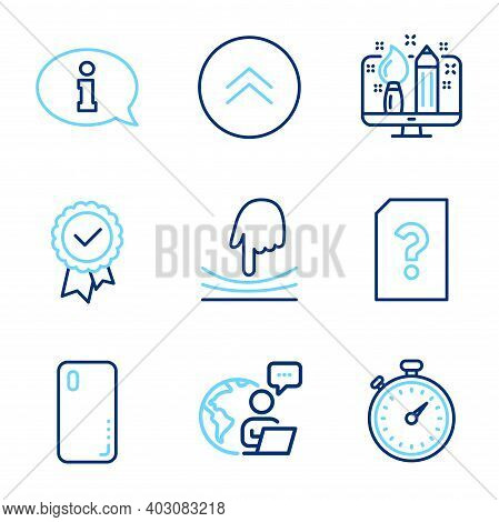 Technology Icons Set. Included Icon As Smartphone Cover, Timer, Swipe Up Signs. Elastic, Creative De