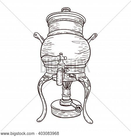 Vintage Coffee Machine For Brewing Coffee With Small Pea, Outline Drawing Isolated On White Backgrou