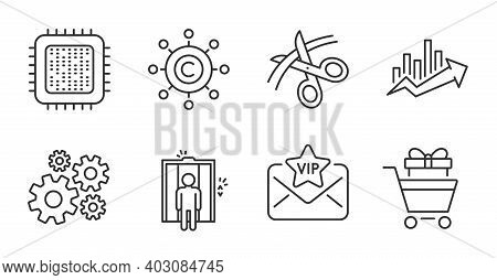 Cpu Processor, Vip Mail And Cogwheel Line Icons Set. Elevator, Shopping Trolley And Growth Chart Sig