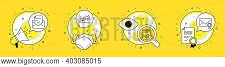 Approved Mail, Internet Report And Financial Diagram Line Icons Set. Megaphone, Licence And Deal Vec