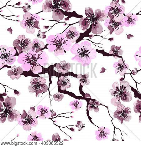 Floral Watercolor Texture Pattern With Sakura Flowers