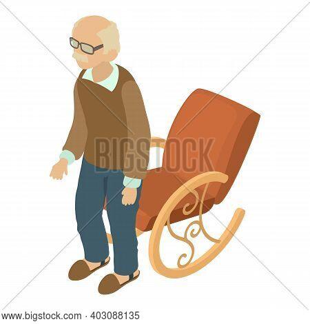 Elderly Man Icon. Isometric Illustration Of Elderly Man Vector Icon For Web