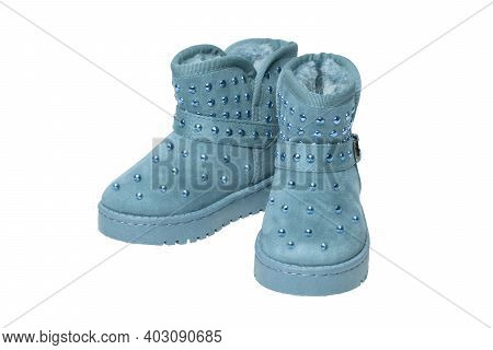 Childrens Winter Boots. Close-up Of A Pair Elegant Blue Suede Leather Winter Boots And Lined With Bl