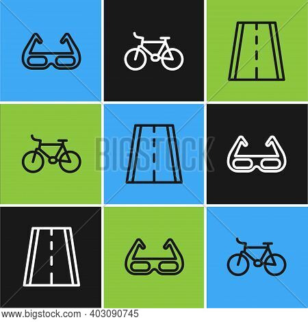 Set Line Sport Cycling Sunglasses, Bicycle Lane And Icon. Vector